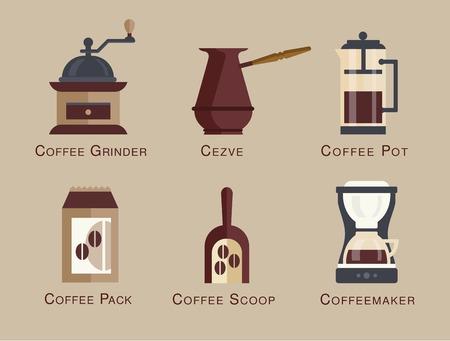 cappucino: Koffie vector icon set menu Koffie dranken soorten en voorbereiding espresso, mokka, macchiato, americano, latte, lange zwarte, cappucino, espresso con panna, platte ontwerp