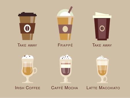 커피 벡터 아이콘 세트 메뉴 커피 음료의 종류와 준비 에스프레소, 모카, 마끼아또, 아메리카, 라떼, 긴 블랙, 카푸치노, 에스프레소 콘 코타, 평면 디자