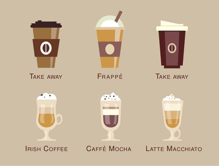 coffee shop: Coffee vector icon set menu Coffee beverages types and preparation espresso, mocha, macchiato, americano, latte, long black, cappucino, espresso con panna, flat design