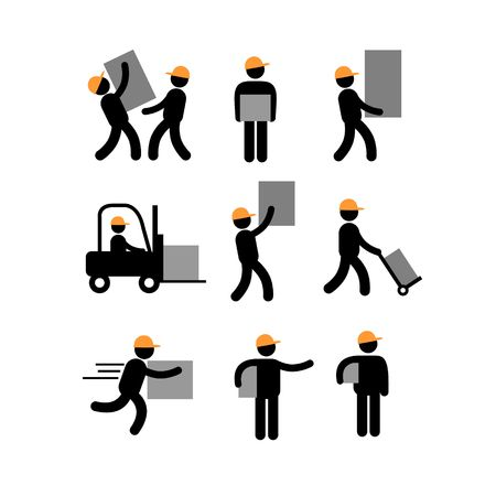 storekeeper: Delivery man Delivery Man Postman  Paperboy Courier Services Pictogram Icon Illustration