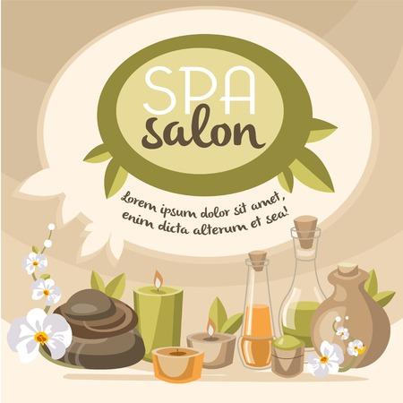 pleasing: Spa emblems beauty salon, beauty treatments, modern design pleasing shades Illustration