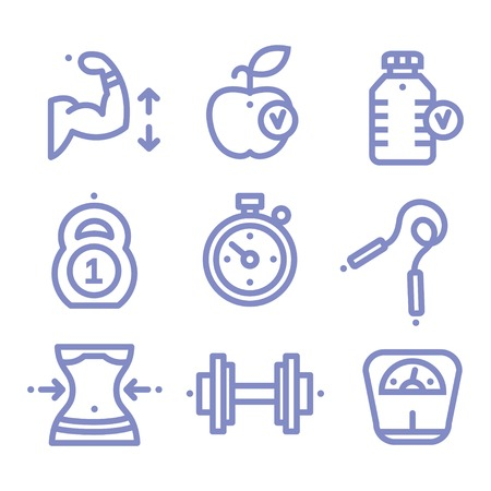 gym: Set Fitness, sports, gym, icons Vector illustration line style Illustration