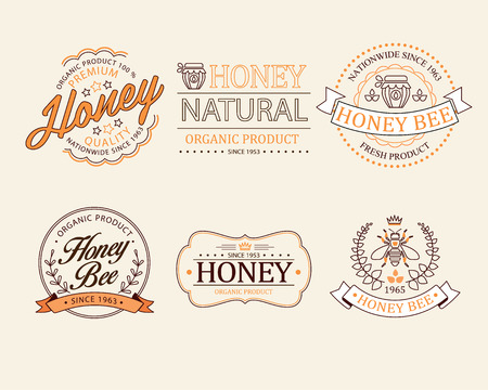 Honey and bees vector badges and labels for any use emblem, logo