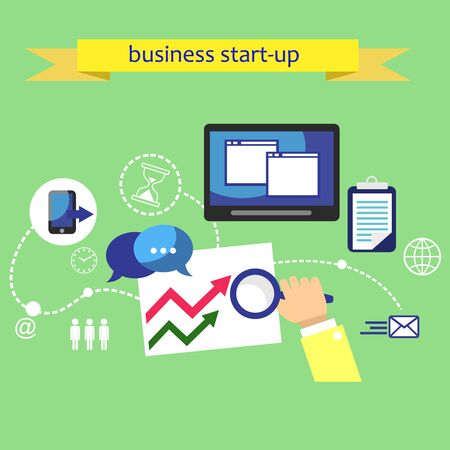 infographics touchscreen: Business plan strategy touchscreen presentation. Search for solutions infographics. Businessman working on notebook. Analysis actions. Vector elements for infographics Stock Photo