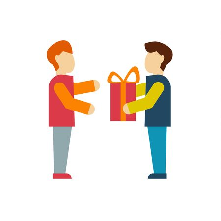 bestowal: Giving a Gift for Employees modern style flat vector illustration