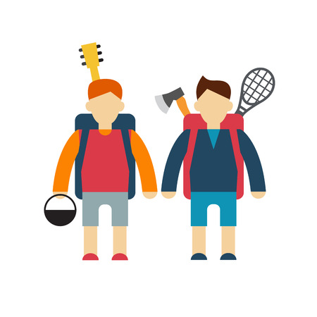 striding: two tourists  modern style flat vector illustration friends with backpacks