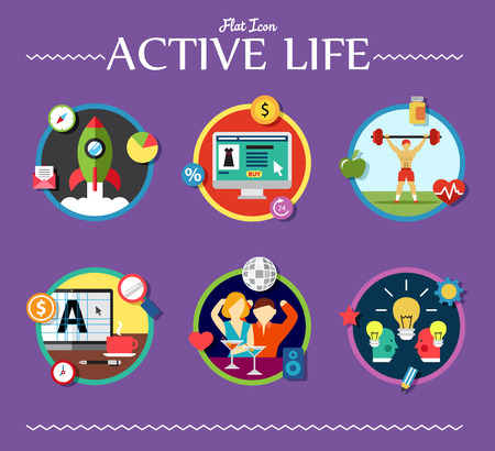 active life: active life collection of vector illustration on various topics flat style Illustration