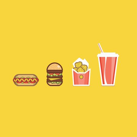 unhealthy food: Vector illustration of various american food items flat design