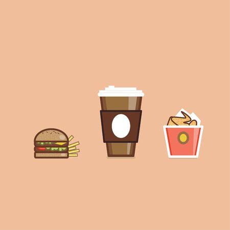 comida americana: Ilustraci�n del vector de diversos productos alimenticios americanos dise�o plano
