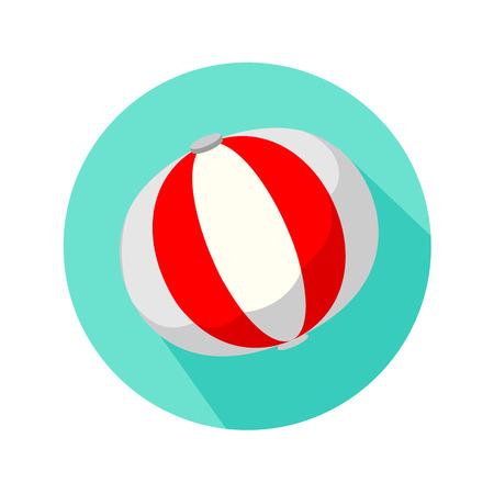 inflar: Bola roja y blanca de playa aislada en el fondo blanco stule plana Vectores