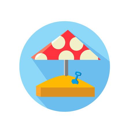 sandpit: Sandbox, vector illustration Red umbrella with white circles