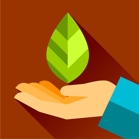 alternative health: hand and leaf nature conservation. The graphic illustration also represents protecting natural resources, organic products, wellness industry, alternative health flat style