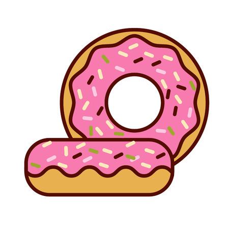 застекленный: Застекленная кольцо пончик, подробные векторные плоским векторные иллюстрации с розовым обледенения Иллюстрация