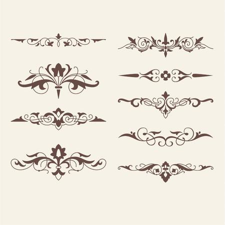 elementi: Arricciati elementi di design calligrafici per il logo del modello, CONSTRUCTO elementi r.Swirling arredamento, bordi, bbons ri, arrows.For invito, carta sbusines S, Ristorante menu.Art Nouveau style.Vector