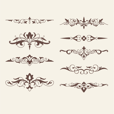 Curled calligraphic design elements for logo template,constructo r.Swirling decor elements,borders,ri bbons,arrows.For invitation,sbusines s card,restaurant menu.Art Nouveau style.Vector Illustration