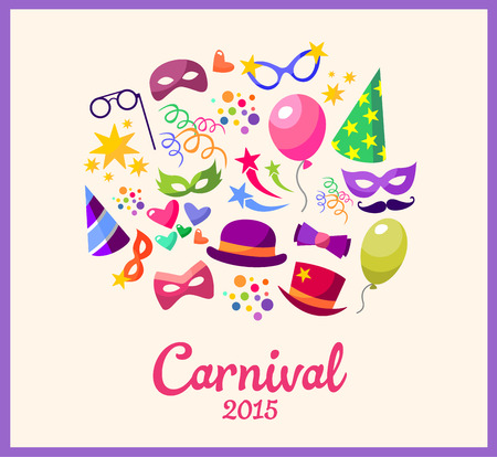 carnaval: Illustration festive banner with carnival colorful icons - vector