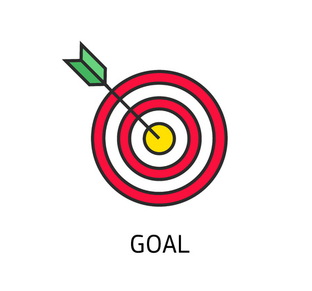 icon flat target with dart isolated goal, modern linear style