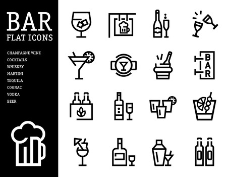 whie wine: Bar, alcohol icons, Drink alcohol beverage icons set. linear style