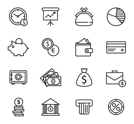 caja fuerte: Finanzas y el banco Icon Set. Iconos negros de estilo de línea simple en el fondo blanco Vectores