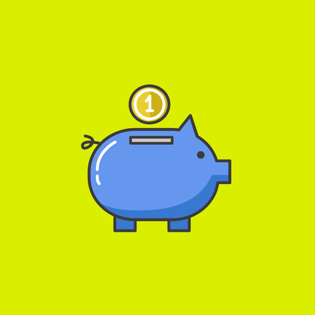 debt collection: Piggy bank. Vector illustration. flat modern style