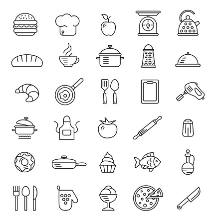 fine lines: cooking icons, vector symbols, simple style fine lines