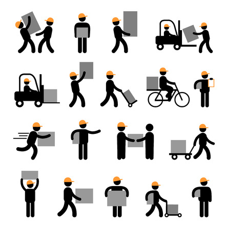 Express delivery and logistics services for business. Flat style icons 일러스트