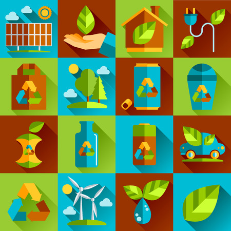 dustbin: Ecology and waste flat icons set of trash recycling conservation isolated vector illustration.