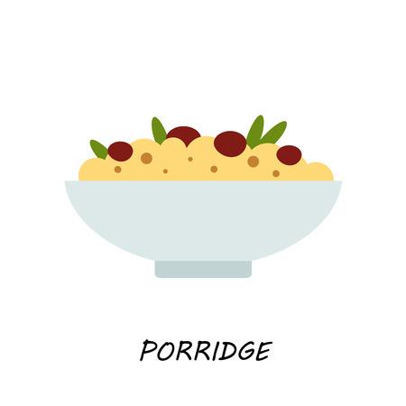 Porridge,millet porridge with raisins, healthy eating, weight loss, flat style