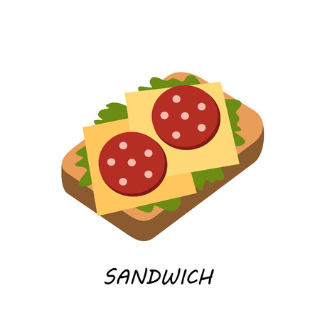 deli meat: Sandwich with salami and cheese, vector artwork in a modern flat