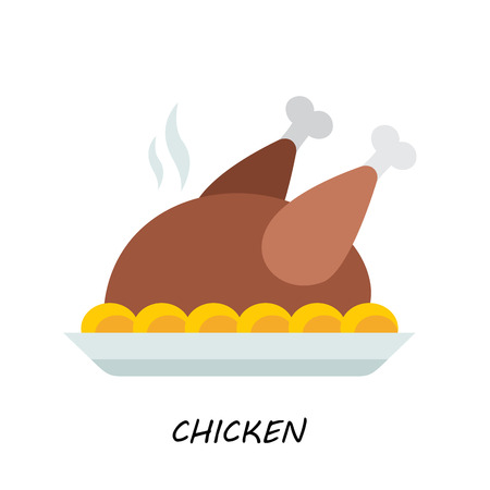 fried food: Baked chicken, turkey. vector modern flat style