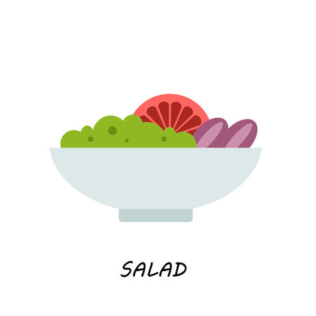 salad in bowl on white background illustration of isolated, flat style