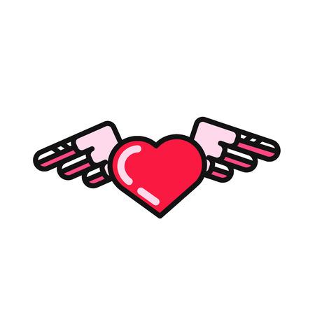 tatouage ange: Vecteur coeur avec des ailes ic�ne de style appartement moderne