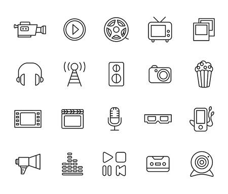 cine: Movie Icon Set. Entertainment movie icons. Flat style Illustration