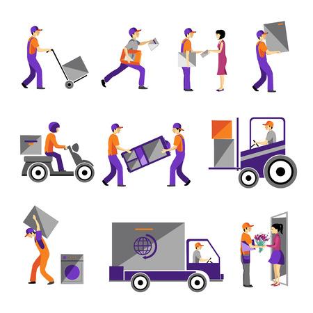 Levering, koeriersdienst, persoon vracht logistieke business service iconen platte set geïsoleerd vector illustratie