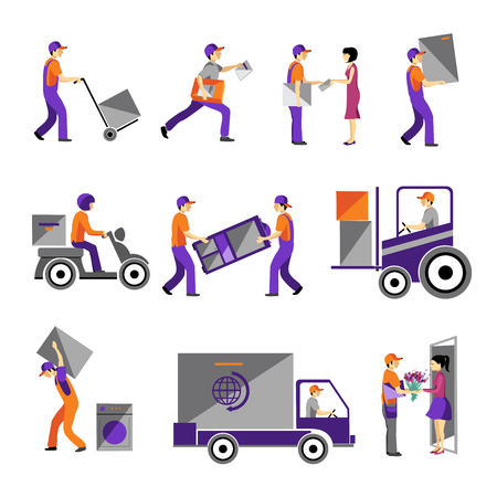 Livraison, service de messagerie, personne fret service logistique d'affaires icônes ensemble isolé plat illustration vectorielle Vecteurs