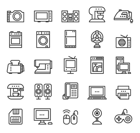iron fan: Home appliances and equipment icons vector modern line style, black on white isolated background