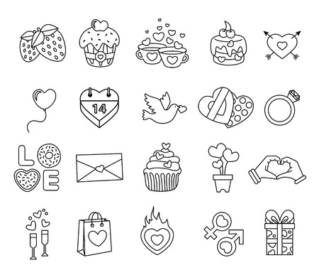 fire heart: Set valentine day objects, Love icon line style