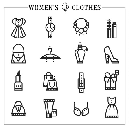 Accessories women icons vector line style concept Vector