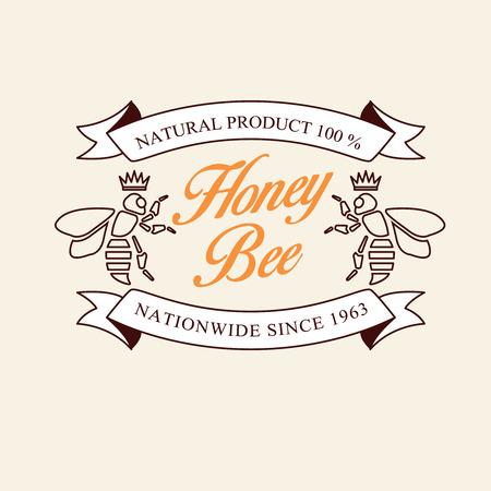 蜂蜜と蜂のラベル、バッジおよびデザイン要素のベクトルを設定