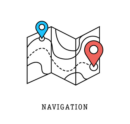 geolocation: navigation and geolocation thin flat lines of modern design Illustration