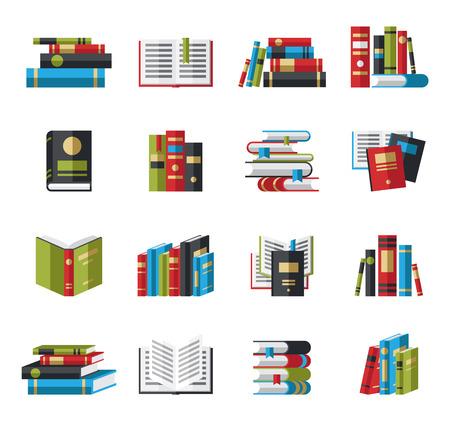 Set of book icons in flat design style concept Illusztráció