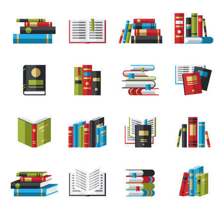 Set of book icons in flat design style concept Illustration