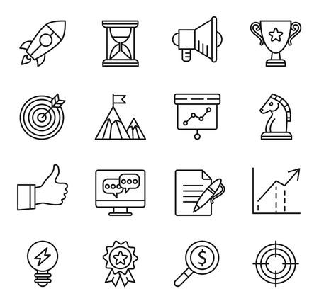 experimento: inicio meta, iconos de soluciones de negocios, negocios arranque concepto