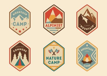 Mountain vintage labels, badges set Vector illustration Illustration