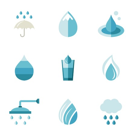 freshness: water, ecology, freshness. Characters in a flat style icons