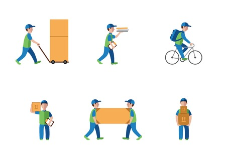 mail delivery: Delivery, courier, logistics flat style modern silhouette on a white background vector