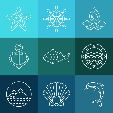sea line: Vector water, sea line icons and logos fresh and clean design elements in blue colors