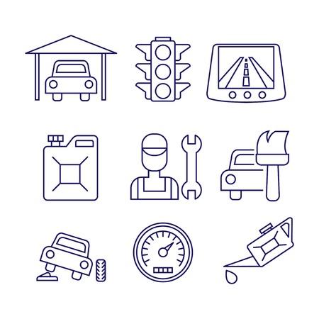 windshield wiper: Car service  maintenance icon, Auto repair vector set Illustration