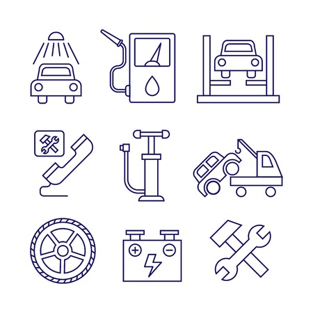 Car service  maintenance icon, Auto repair vector set Illustration