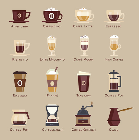 Coffee vector icon set menu. flat style
